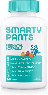 SmartyPants Prenatal Formula Daily Gummy Multivitamin: Vitamin C, D3, & Zinc for Immunity, Gluten Free, Folate, Omega 3 Fish Oil (DHA/EPA), 120 Count (30 Day Supply)
