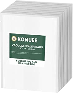 Vacuum Sealer Bags, KOMUEE 200 Quart Vacuum Sealer Storage Bags 8x12 Inch for Food Saver, Seal a Meal Sealers, Heavy Duty Commercial Grade, Sous Vide Vaccume Meal Safe, Universal Pre-Cut Bag