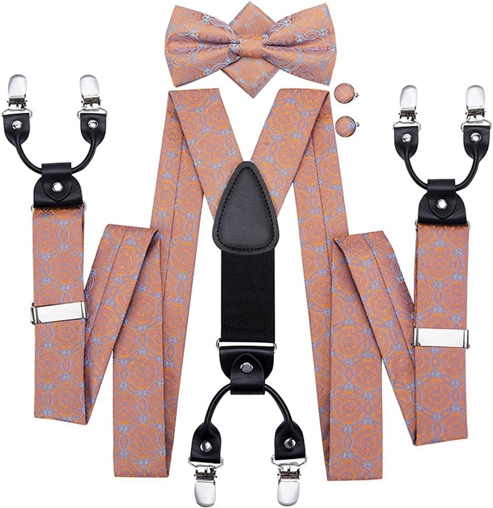 SLATIOM Men's Suspenders and Bow Tie Set Metal 6 Clips Party Bowtie Pocket Square Set Silk Coral Peach Suspender (Color : A, Size : Adjustable)
