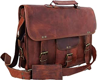Radha Krishna Handicraft RKH Leather Unisex Real Leather Messenger Bag for Laptop Briefcase Satchel (11 X 15 INCH Bag)