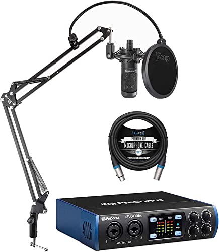 popular PreSonus Studio outlet online sale 26c 2x4, 192 kHz, USB Audio Interface for Mac and Windows Bundle wholesale with Audio Technica AT2035 Condenser Microphone, Blucoil 10-FT Balanced XLR Cable, and Boom Arm Plus Pop Filter outlet online sale