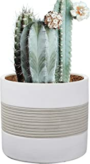 Brief Succulent Pots, 5 inch Diameter, 1 Pack Modern Cement Cactus Flower Aloe Snake Plant Planter Container with Drainage Hole, White(P002)
