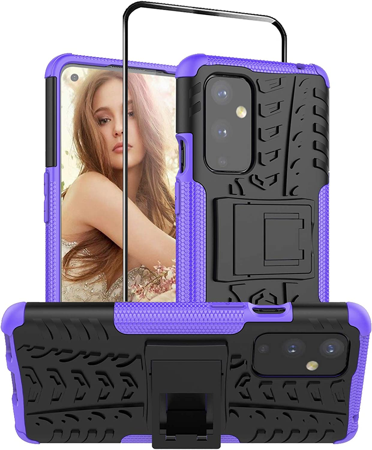 Starhemei for OnePlus 9 Case with Tempered Glass Screen Protector, Double Armor with Kickstand Anti-Fall Shock-Absorbing Phone Case for OnePlus 9 (Purple)