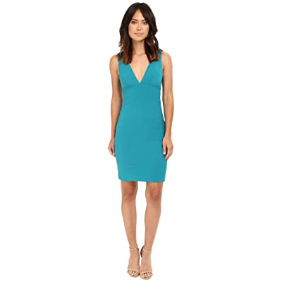Nicole Miller Deep V Seamed Dress (Teal) Women