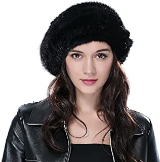 Women's Knitted Mink Fur Hat Betret Hat with Elastic Band Mutiple Color