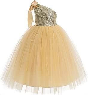 ekidsbridal Tutu One-Shoulder Sequin Toddler Flower Girl Dress Beauty Pageant Dresses 182