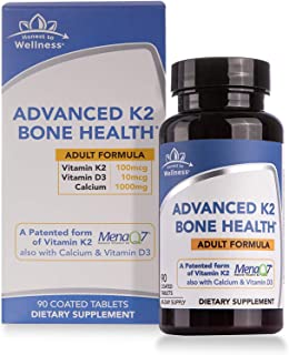 Vitamin D3 & K2 (MK7) with Calcium - Advanced Bone Health Supplement - Bone Density & Strength Support by Honest To Wellness for Cardiovascular Health – 90 Count (Adult)