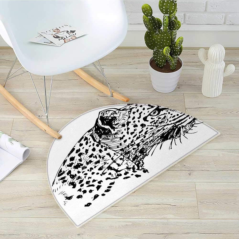 Sketchy Semicircular CushionHand Drawn Jaguar Profile Wildlife Jungle Animal African Safari Theme Artwork Entry Door Mat H 39.3  xD 59  Black White