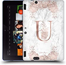 Official Nature Magick Letter U Rose Gold Marble Monogram 2 Soft Gel Case Compatible for Amazon Kindle Fire HDX 8.9