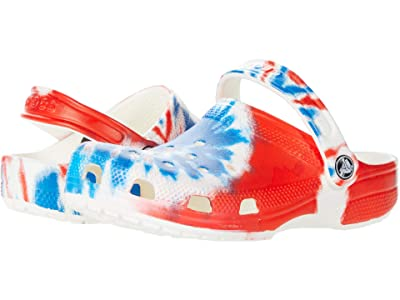 Crocs Kids Classic Tie-Dye Graphic Clog (Toddler/Little Kid/Big Kid) (Multi/White) Kids Shoes