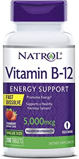 Natrol Vitamin B12 Fast Dissolve Tablets, Promotes Energy, Supports a Healthy Nervous System, Maximum Stren...