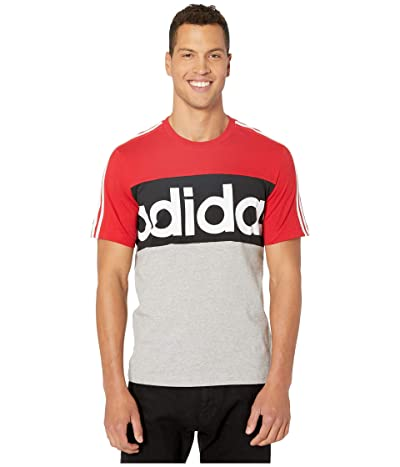 adidas Essential Color Block Tee (Scarlet/Medium Grey Heather/White) Men