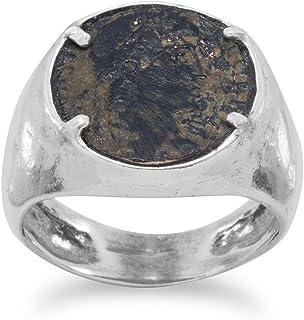 Ligeramente Martillado plata de ley biselado banda anillo tarde romano Bronce Moneda moneda 13,5mm–tamaño V 1/2