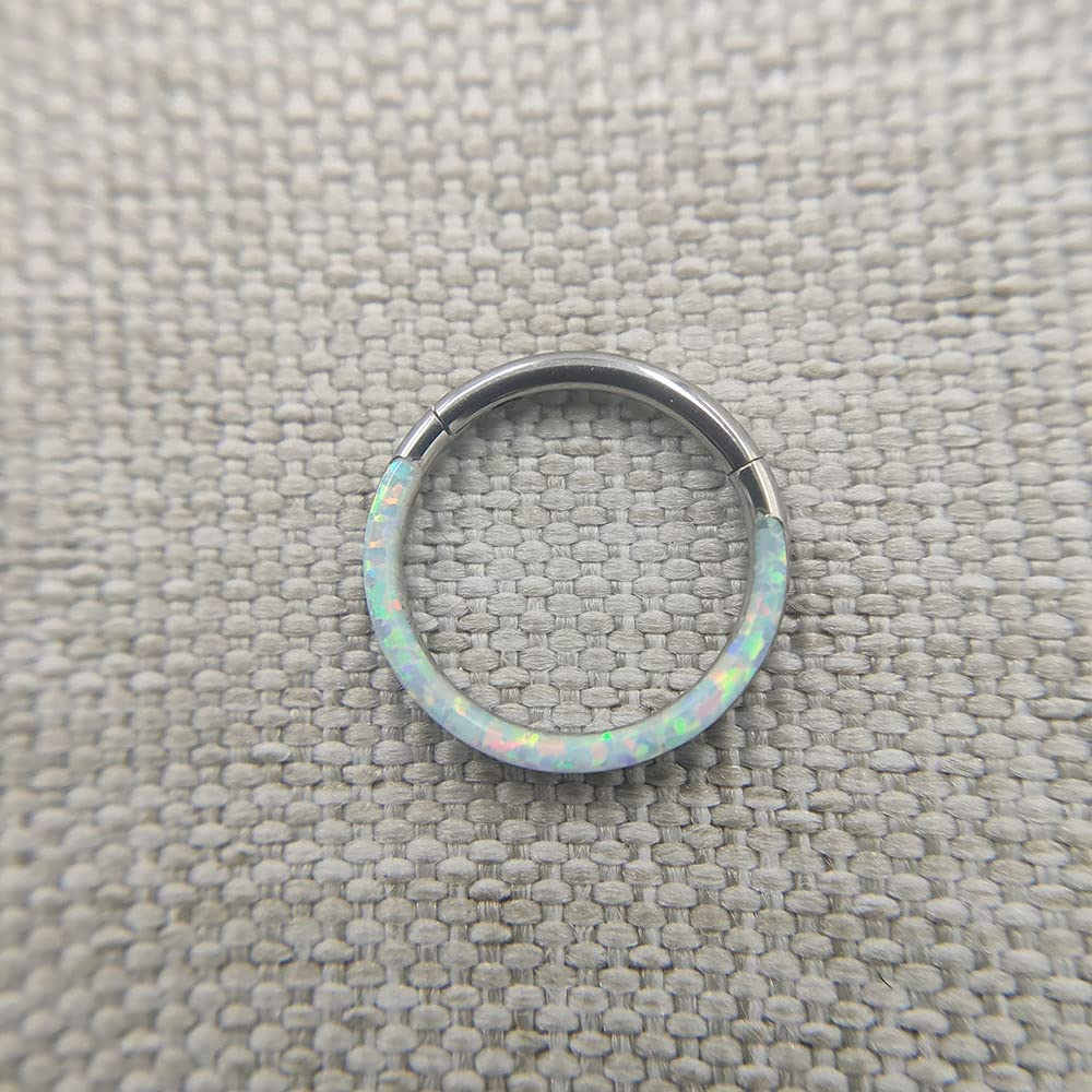 baidicheng Nose Ring Implant Grade Titanium Septum Piercing Ring Clicker Nose Body Jewelry with Opal (Main Stone Color : 16G 8mm, Metal Color : OP 17)