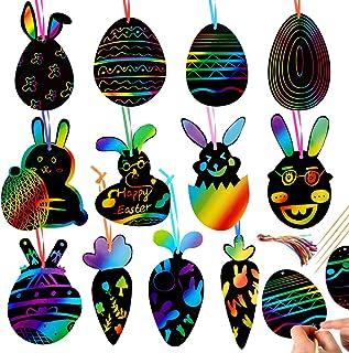 Wishstar Pâques Scratch Art,Carte à Gratter Oeuf Lapin Carotte 36 Pcs,Pâques Décoration à Suspendre,DIY Cadeaux Artisanaux...