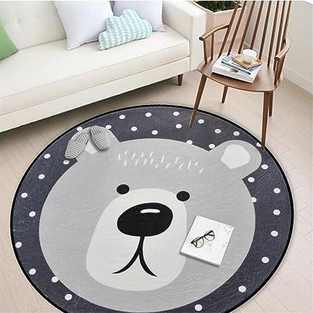 Amazon Com Round Area Rug Living Room Carpet Bedroom Rug Super Soft Anti Slip Cartoon Animal Baby Floor Mat For Kids Children Girls Room Decorator 3 28 Feet Bear Baby