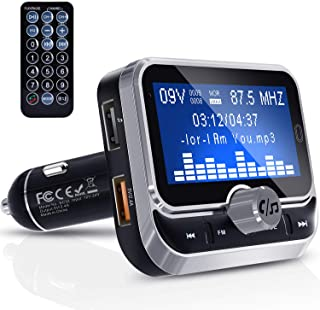 "Zintou Bluetooth FM Transmitter for Car,1.8"" Large Display Wireless Radio Adapter Music Player Car Kit with Remote Control,Fast Charger,4 Music Play Modes,Hands Free,AUX Input&Output - BC32RC Silver"