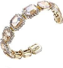 BriLove Women's Wedding Bridal Multi Emerald Cut Crystal Open Bangle Stretch Bracelet