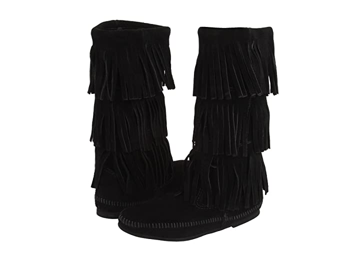 Minnetonka  Calf Hi 3-Layer Fringe Boot (Black Suede) Womens Pull-on Boots