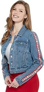 Women's Cavora Classic Striped Logo Cropped Denim Jacket