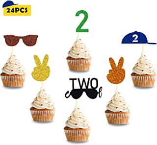 24 Pcs Two Cool Cupcake Toppers little man sunglasses Theme for Boys Kids Second Birthday Baby Shower Party Supplies Glitter Decorations