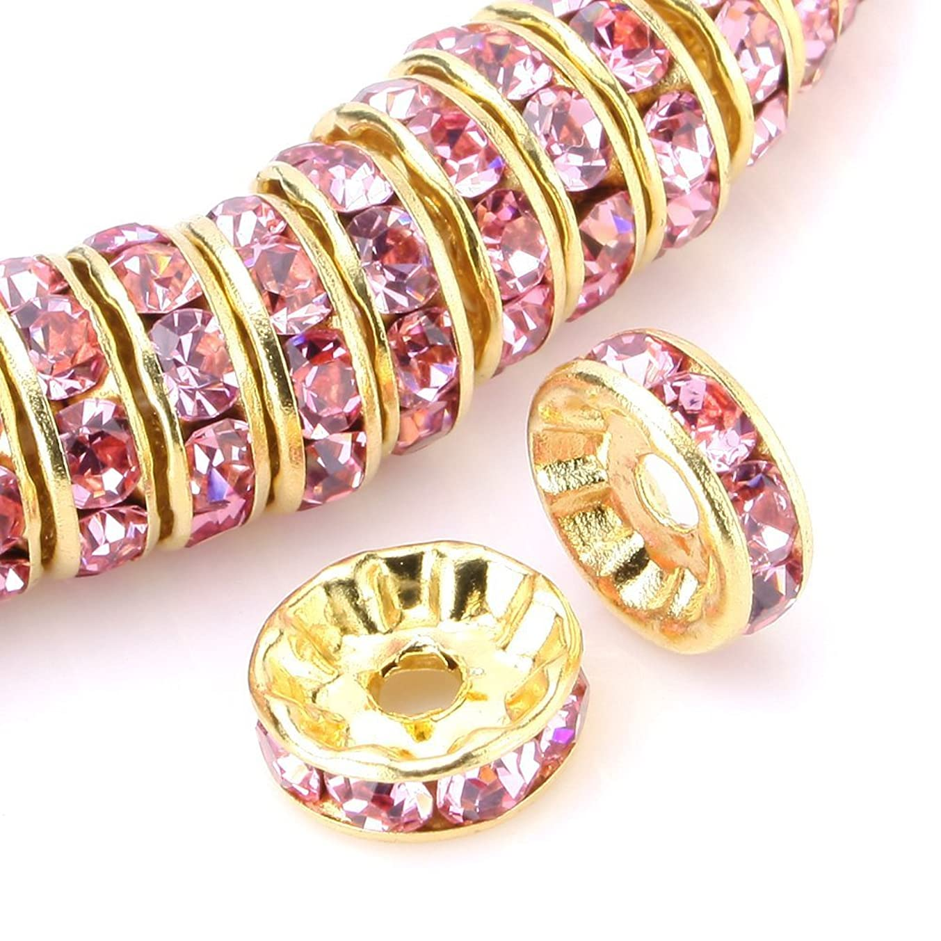 RUBYCA 100pcs Round Rondelle Spacer Bead Gold Tone 10mm Light Rose Pink Czech Crystal