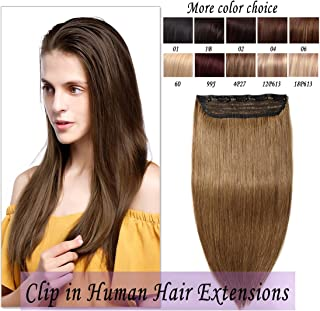 Clip in hair extensions human hair one piece human hair extensions 5 clips 100% Remy Human Hair Straight Light Brown 16