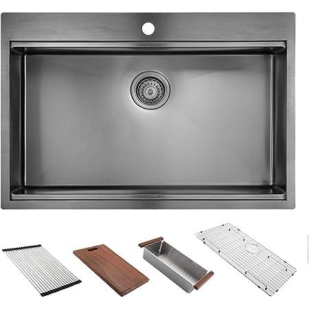 "33"" x 22"" Drop in Kitchen Sink, HERCATE Stainless Steel Sink, Drop Workstation Sink, Topmount Single Bowl Sink with All Sink Accessories, Gunmetal Black"