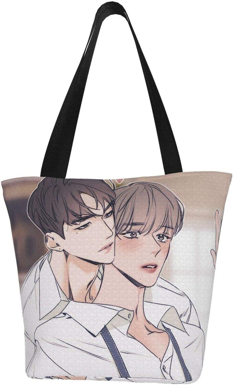 Cool Man Love Lgbt Gay Themed Printed Women Canvas Handbag Zipper Shoulder Bag Work Booksbag Tote Purse Leisure Hobo Bag For Shopping