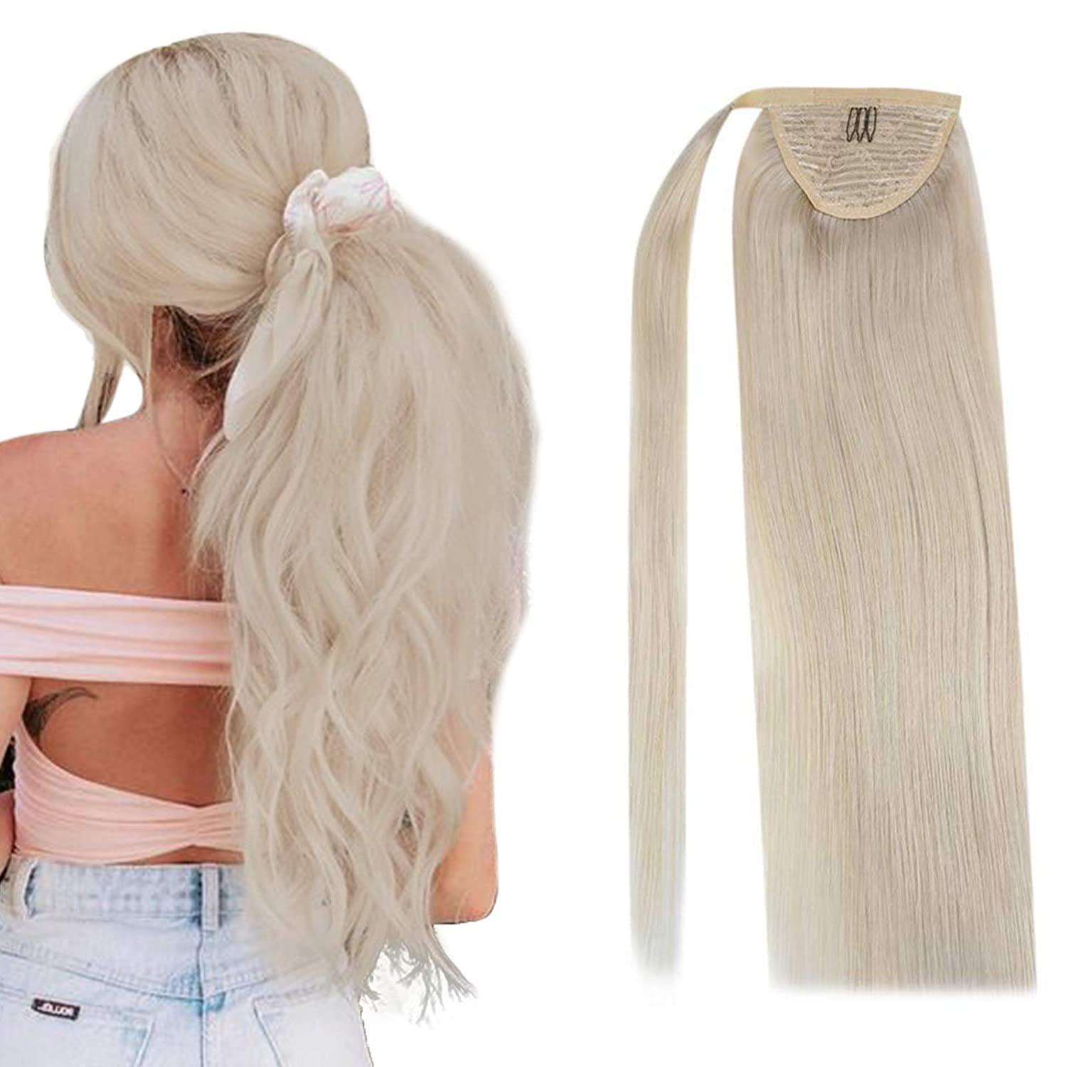 Sunny Blonde Fees free Ponytail Extensions 18 Hair inch Human Elegant Wrap Around