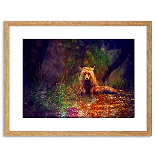 "Colourful  fox PICTURE CANVAS print only  WALL ART 20/""X20/"""