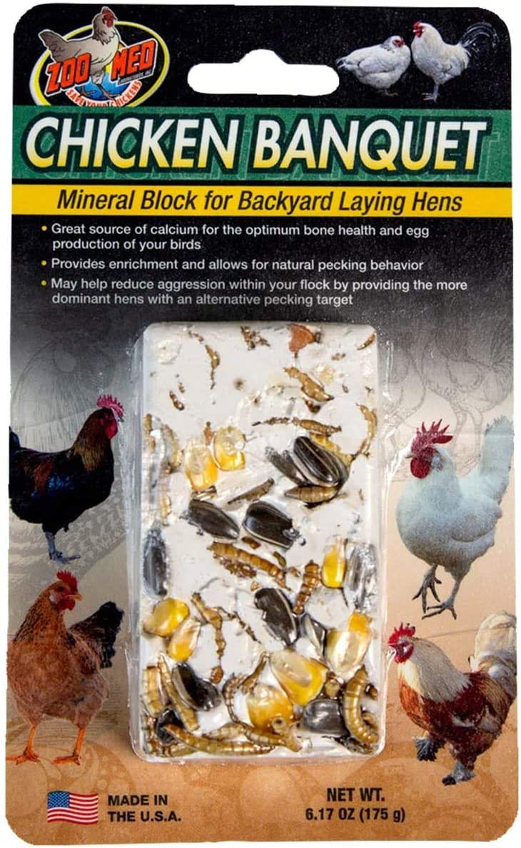 Zoo Med Chicken Banquet Mineral Block for Backyard Laying Hens (690844)