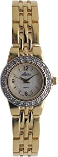 Pierre Jacquard Women's Small Face Watch - Gold Plated with Crystal Bezel and Panther Link Bracelet