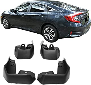 Mud Guards Compatible With 2016-2018 Honda Civic | OE Style Black PP Splash Flaps Fender 4Pcs by IKON MOTORSPORTS