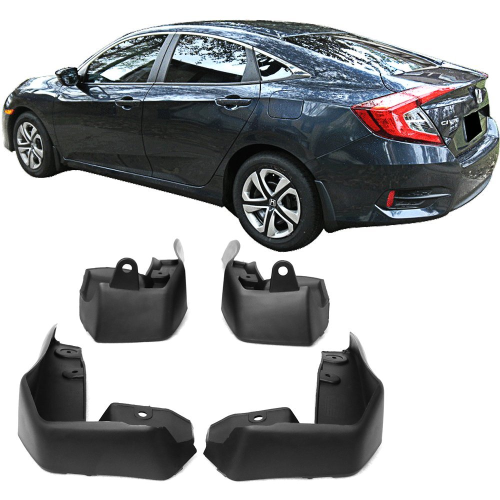 Red Hound Auto Compatible with Honda Civic 2016-2017 Mud Flaps Splash Guards Front and Rear Molded 4pc Full Set Does not fit Si Models