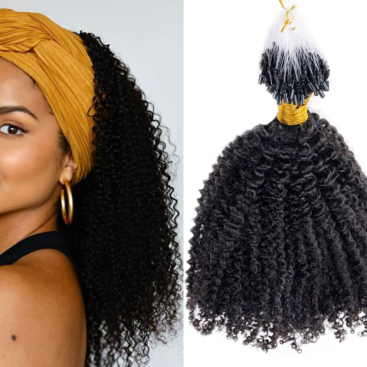 Niawigs Afro Columbus Mall Kinky Curly Beauty products Microlink Extensions Hair Fo Human