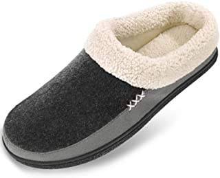 VONMAY Men's Wool Plush Fleece Memory Foam Slippers Slip On Clog House Shoes Indoor Outdoor