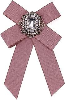 Women Wedding Party Bow Tie Rhinestone Pre Tied Neck Tie Brooch Pin