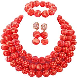 laanc 3Rows African Jewelry Sets for Womens 18inch Necklace Bracelet Earrings Beads Nigerian Wedding Party