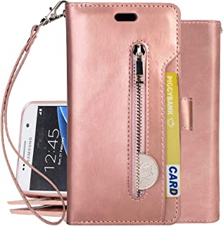 Galaxy S7 Cover, Harsel Trifold [Stand Feature] Magnetic Leather Wallet Purse Folio Flip Protective Case with 9 Card Holder Wristlet Zipper Pocket for Samsung Galaxy S7 (Rose Gold)