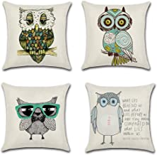 VOTENVO 18 x 18 Cotton Linen Sofa Home Decor Throw Pillow Case Cushion Cover Set of 4 Cute owl Print Square Pillow Cover (Cute owl)