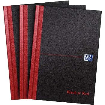 Oxford Black n' Red - Quaderno con copertina rigida, formato A4 Confezione da 3 A5
