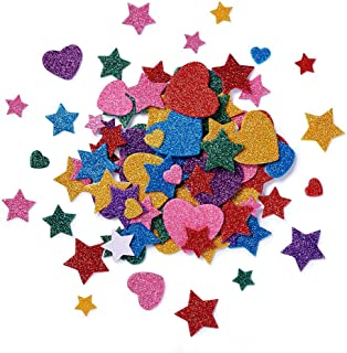 Beadthoven Heart & Stars Glitter Stickers Self-Adhesive Foam Mixed Color Assorted Size Handmade Crafts Supplies for Kid's Arts Greeting Cards Scrapbooks Christmas Holiday Home Party Decoration