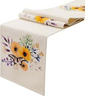 KEY SPRING Watercolor Flower Pattern Table Runner (12 X 72 inch) for Wedding Table Decor, Bridal Shower, Birthday Party, Housewarming Gift, Catering Events, Cotton & Linen