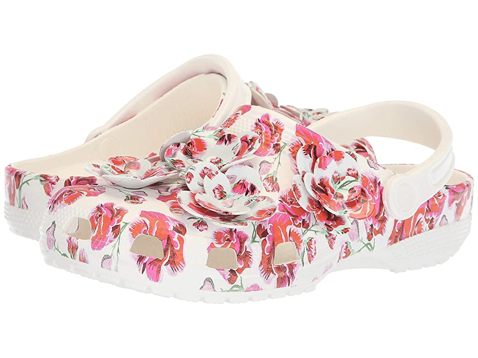 Crocs Classic Timeless Clash Roses Clog (Floral/White) Clog Shoes