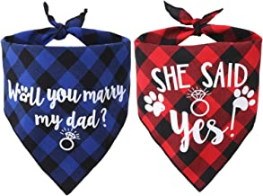 JPB Dog Wedding Bandana for Engagement Party 2 Pack