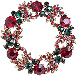 Gyn&Joy Vintage Green Red Austrian Crystal Round Christmas Wreath Pin Brooch BZ291