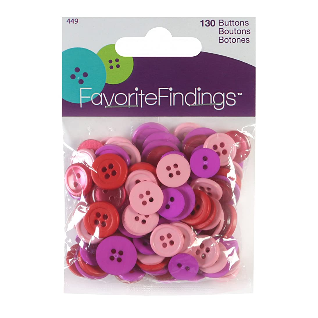 Blumenthal Lansing Favorite Findings Assorted Buttons for Arts and Crafts Red/Pink/Purple 100 Piece