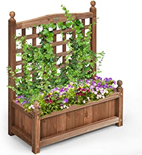 Giantex Wood Planter Free Standing Plant Raised Bed with Trellis for Garden or Yard (25''LX11''WX 30''H)