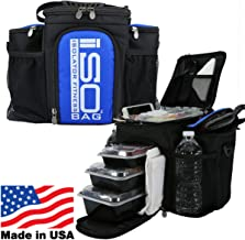 Meal Prep Bag ISOBAG 3 Meal Insulated Lunch Bag Cooler with 6 Stackable Meal Prep Containers, 2 ISOBRICKS, and Shoulder St...